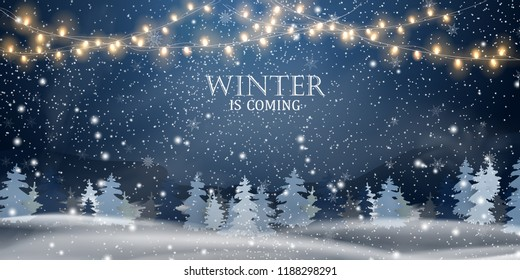 Winter is coming. Christmas, night, Snowy Woodland landscape. Holiday winter landscape for Merry Christmas with firs, coniferous forest, light, snow, snowflakes. Christmas scene. Happy new year