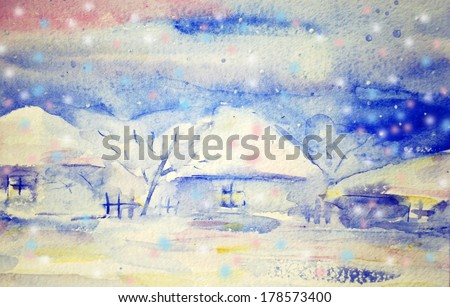 Winter countryscape with houses and snow.