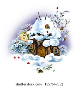 winter dwelling of forest spirits, a stump with windows and a door in a snowdrift, a house of fabulous creatures in the forest, isolated image on a white background