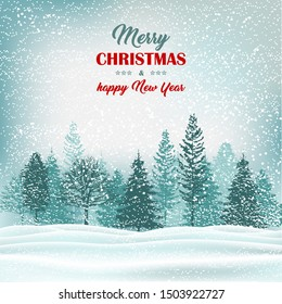 Winter forest holiday outdoor scene. Christmas greeting card with text.