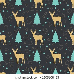 Winter forest pattern depicting the deer on black backdrop. Christmas seamless background.