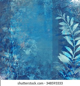 winter frost snow floral scrap background in mixed media - ghostly mystic flowers, leaves, letters and spray paint