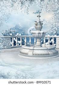Winter garden with a frozen fountain