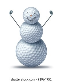 Winter golfing and holiday golf symbol as golf balls placed as a happy smiling snow man or snowman holding driver golf clubs as winter activities for seasonal sports leisure vacation at a resort.