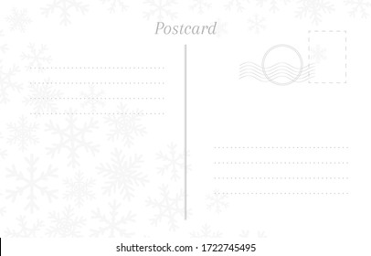 Winter greeting postcard back template with snowflakes, stamp and a place for a postmark.