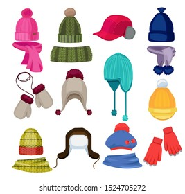 Winter hat cartoon. Headwear cap scarf and other fashion accessories clothes in flat style illustrations