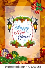 """Winter holiday card with vintage lanterns, pine branches and artistic written text """"Happy New Year!"""". Design element for greeting cards and other graphic designer works. Raster clip art."""