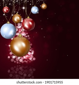 winter holiday christmas greeting card with xmas balls and blurry lights