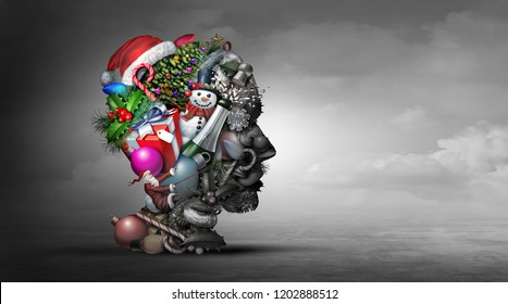 Winter holiday depression psychology or psychiatry mental health concept representing feeling depressed during Christmas and New year season with 3D illustration elements.