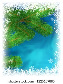 Winter holiday greeting card. Illustration with green pine branch on textured blue background with frame of white snowflakes. Frozen window effect. Raster version
