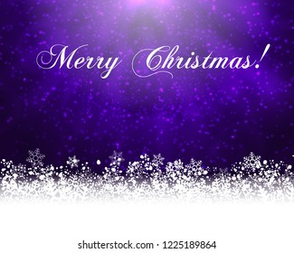 Winter holiday greeting card. Purple background with white snow at the bottom and text Merry Christmas. Raster version