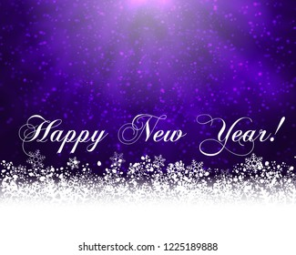 Winter holiday greeting card. Purple background with white snow at the bottom and text Happy New Year. Raster version