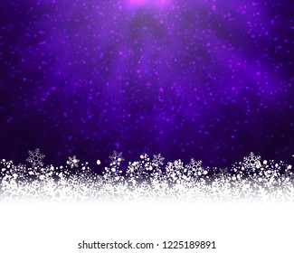 Winter holiday greeting card. Purple background with white snow at the bottom and light of shinning stat at the top. Raster version