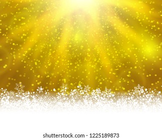 Winter holiday greeting card. Yellow background with white snow at the bottom and light of shinning stat at the top. Raster version