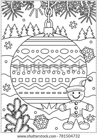 Winter Holidays Coloring Page Kids Grownups Stock Illustration