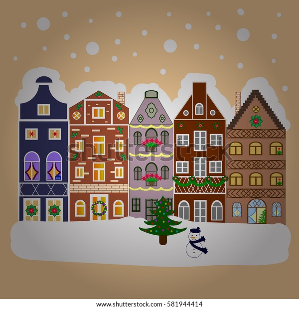 Winter houses, road, tree. Cityscape. New year holidays. Greeting card, poster design. Winter nature landscape. Winter in the city, christmas decor fir-trees. Cute town Christmas eve.
