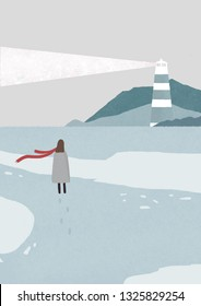 Winter illustration about way to lighthouse and mountains