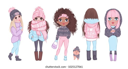 Winter illustration with beautiful and cute girls. Young babes in stylish winter clothes. Trendy art. Raster picture. Little ladies. Funny teens. Trendy outfit.