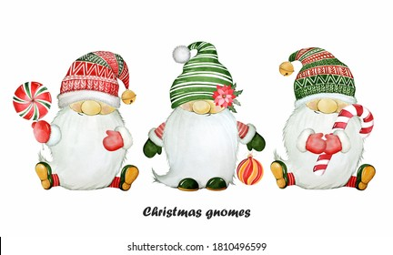 Winter illustration. Cute christmas gnomes. Candy cane. Watercolor set.