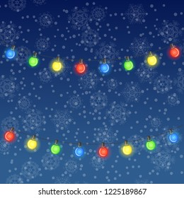 Winter illustration of glowing light bulbs on dark blue snowfall background. Raster version