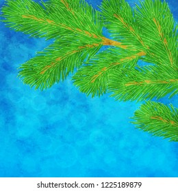 Winter illustration with green pine branch on textured blue background. Raster version