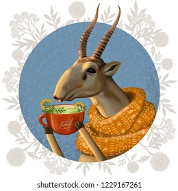 winter illustration with saiga antelope