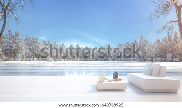 Magnificent Winter Lake Lounge White Sofa Table Stock Image Download Now Gmtry Best Dining Table And Chair Ideas Images Gmtryco