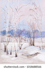 winter landscape with birches and frozen lake