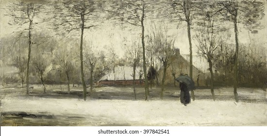 Winter landscape, by Willem Maris, c. 1875, Dutch painting, oil on canvas. Impressionistic landscape with woman walking under an umbrella