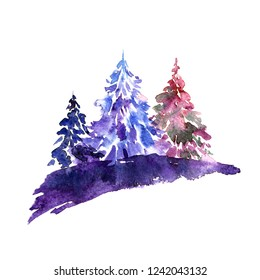 Winter landscape. Drawing Christmas trees. Chrismas greeting card. Watercolor painting with a Christmas tree