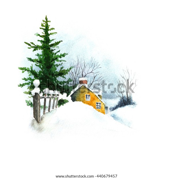 Winter landscape. Fir tree and old country house. Watercolor illustration.