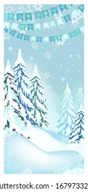Winter landscape with fir-trees and flag garlands. Snowy country scene illustration. Christmas concept. For websites, posters or banners.