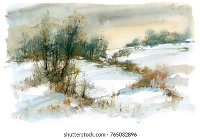 Winter landscape with forest, watercolor painting