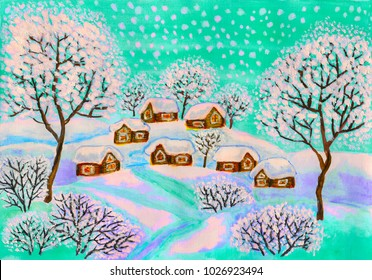 Winter landscape in green colours, painting