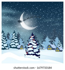 Winter landscape with houses, Santa Claus in night sky and decorated fir-tree. Snowy country scene illustration. Christmas Eve concept. For websites, wallpapers, posters or banners.