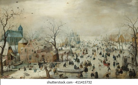 Winter Landscape with Ice Skaters, by Hendrick Avercamp, 1608, Dutch painting, oil on panel. Hundreds of people are out on the ice, for both pleasure and necessity. The painting has details of buildi