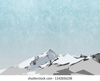 winter landscape illustration - mountain with snow and blue sky painting