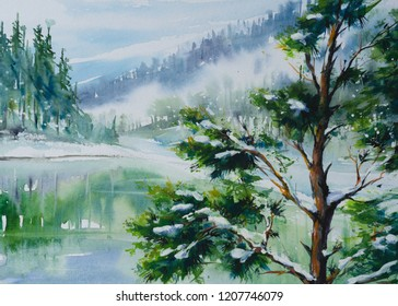 Winter landscape with lake and mountains reflecting in water. Picture created with watercolors on paper.