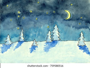 Winter landscape. Night scene with snow, trees, starry sky and moon