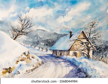 Winter landscape with old house in mountains close to the road covered with snow. Picture created with watercolors.