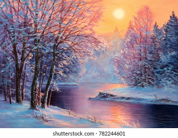 Winter landscape .Original  oil painting.