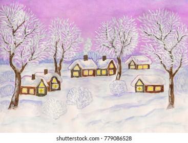 Winter landscape, painting