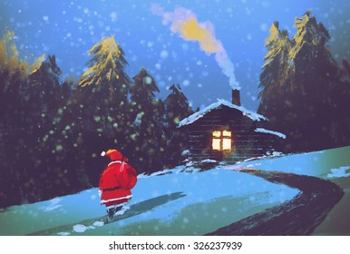 winter landscape with Santa Claus and wooden house at Christmas night,illustration painting
