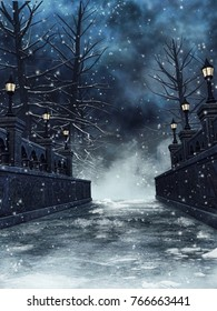 Winter landscape with a snowy bridge and gothic lanterns at night. 3D illustration.