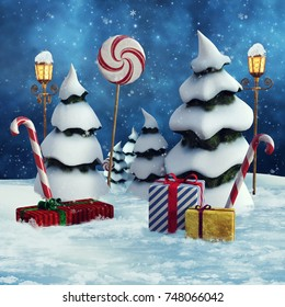 Winter landscape with snowy trees, Christmas gifts and lollipops. 3D illustration.
