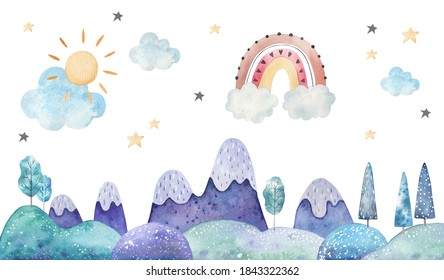 winter landscape, trees, mountains, clouds and stars watercolor childrens illustration on a white background, nursery room decor, print