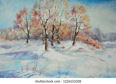 winter landscape with trees painting