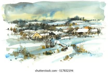 Winter landscape with village, watercolor illustration