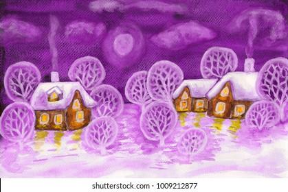 Winter landscape in violet colours, painting