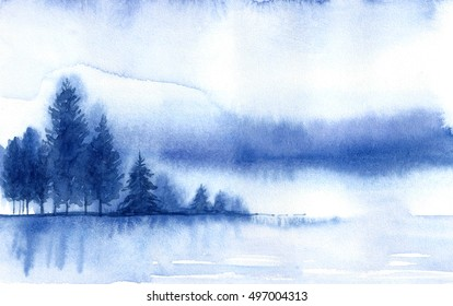 Winter landscape. Watercolor landscape illustration. Christmas background.